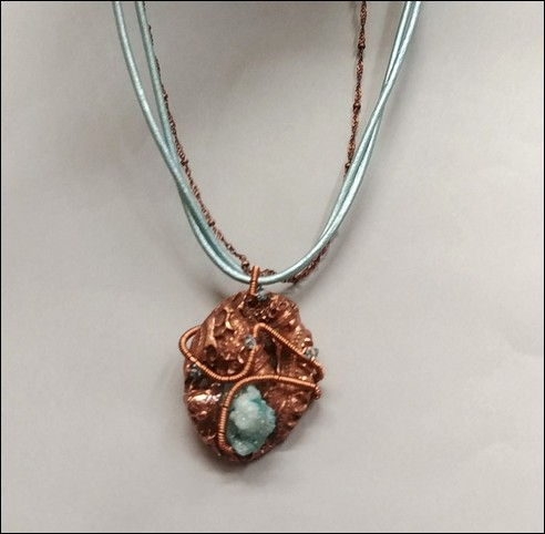 DM-011 Necklace Copper PMC, Blue Drusy at Hunter Wolff Gallery