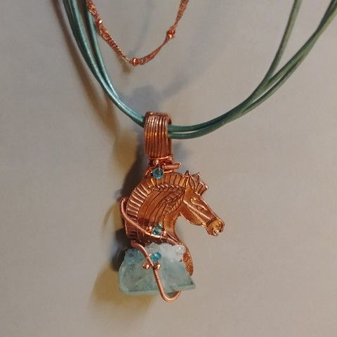Click to view detail for DM-033 Pendant, Horse Copper, Aura Blue