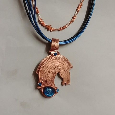 Click to view detail for DM-034 Pendant, Horse Copper, Dichroic Glass