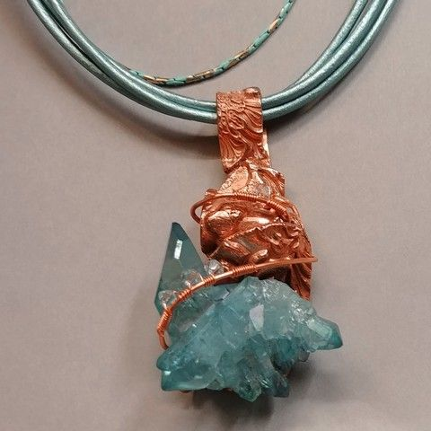 Click to view detail for DM-055 Pendant, Copper, PMC, Druzy