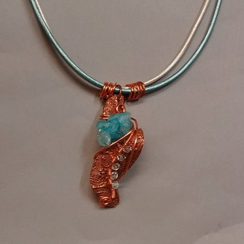 Click to view detail for DM-057 Pendant, Copper, PMC, Druzy