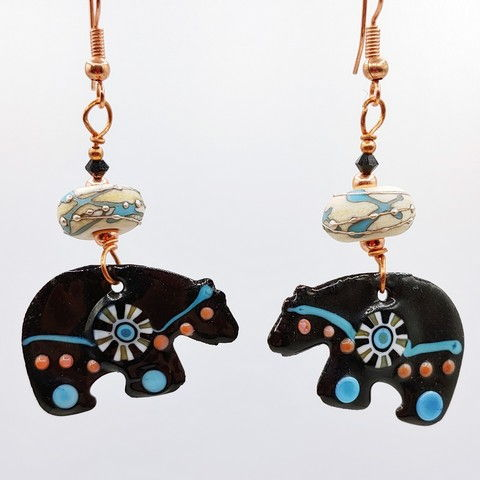 Click to view detail for DM-088 Earring Black Bear Enamel $55