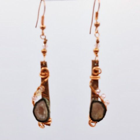 Click to view detail for DM-089 Earring Geode, Copper, Swarovski Crystals $40