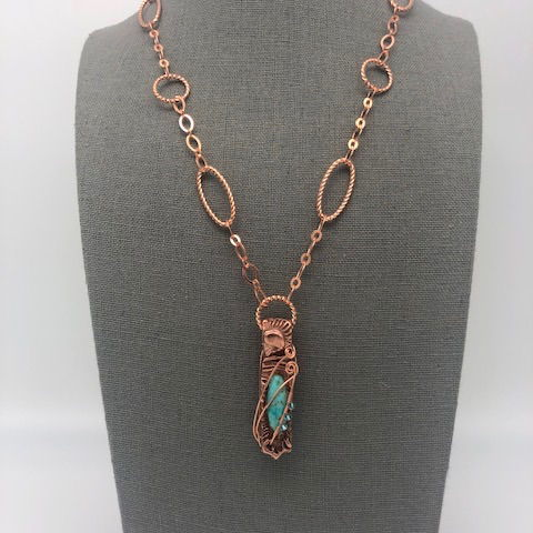 Click to view detail for DM-108 Necklace Copper with Turquoise $100