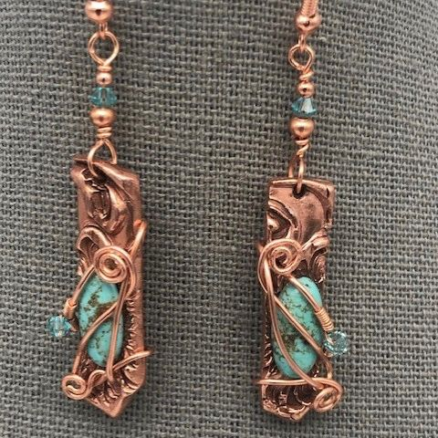 Click to view detail for DM-109 Earrings Turquoise Stone, Swarovski Crystals $50