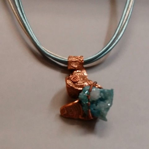 Click to view detail for DM-051 Pendant, Copper, PMC, Druzy