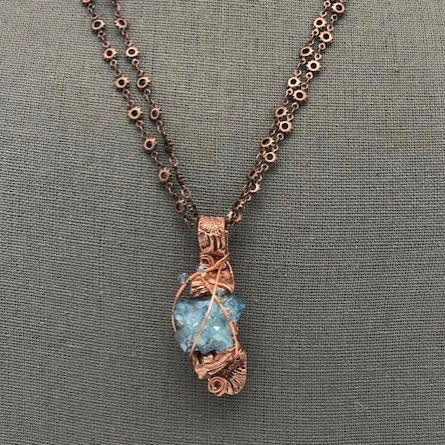 Click to view detail for DM-097 Necklace Aura Blue Crystal, Swarovski Crystals $85