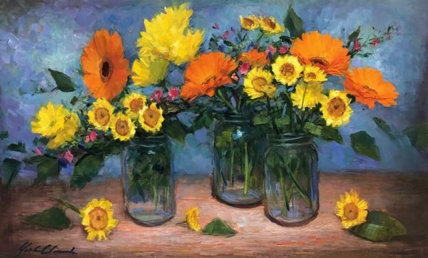 Click to view detail for Mixed Daisies in Mason Jars 12x20