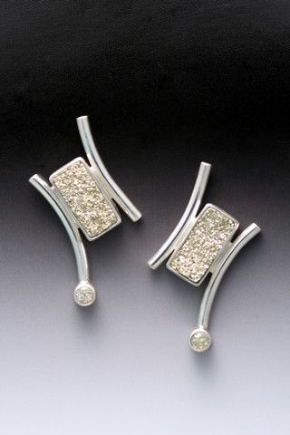 Click to view detail for MB-E206 Earrings  Russian Pyrite, Cubic Zirconia