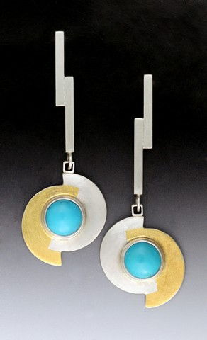 Click to view detail for MB-E271 Earrings Contemporary Yin Yang