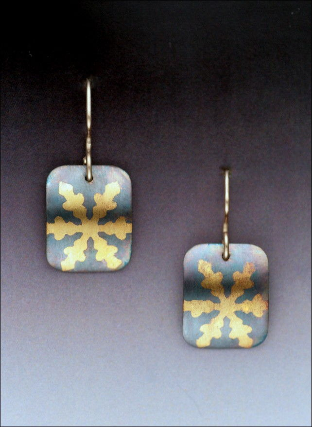 Click to view detail for MB-E329B Earrings Snowflake Rectangle