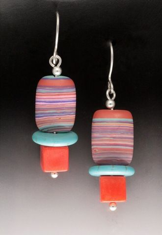 Click to view detail for MB-E387B Earrings Earth Colors, TQ & Coral