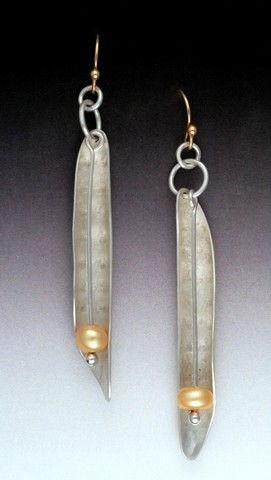MB-E388 Earrings Gold Pea Pod $164 by Maria Battista