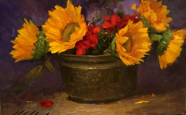 Click to view detail for Geraniums and Sunflowers