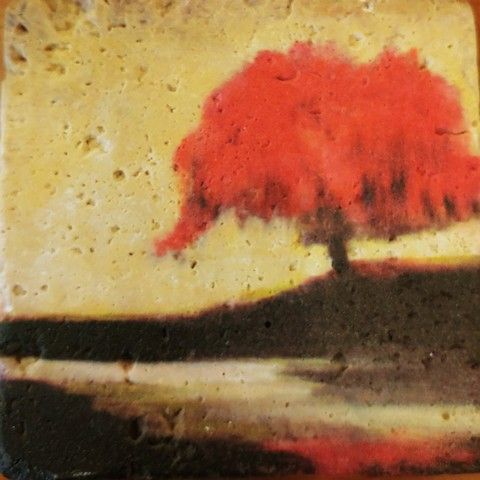 Click to view detail for JS010 Coaster Red Tree on Hill 4x4 $26