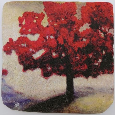 Click to view detail for JS008 Coaster Red Tree 4x4 $26