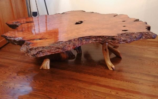 Click to view detail for JW-169 Redwood Lace Burl & Juniper Table $6600