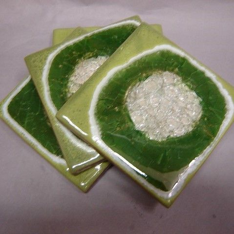 Click to view detail for KB382 Coaster Set of Four - Lime Green