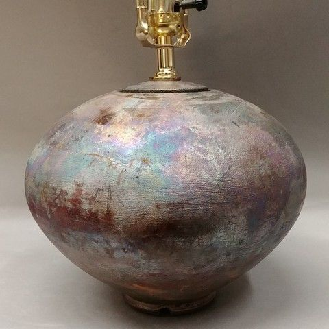 Click to view detail for Lamp Round Raku 12x9