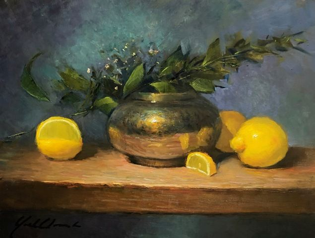 Click to view detail for Lemons & Brass Pot 9x12