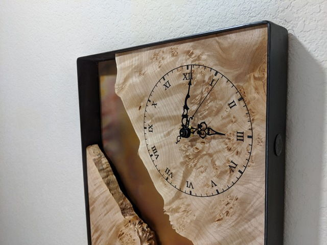 Click to view detail for BEN-9043 Clock, Live Edge Maple Burl & Copper