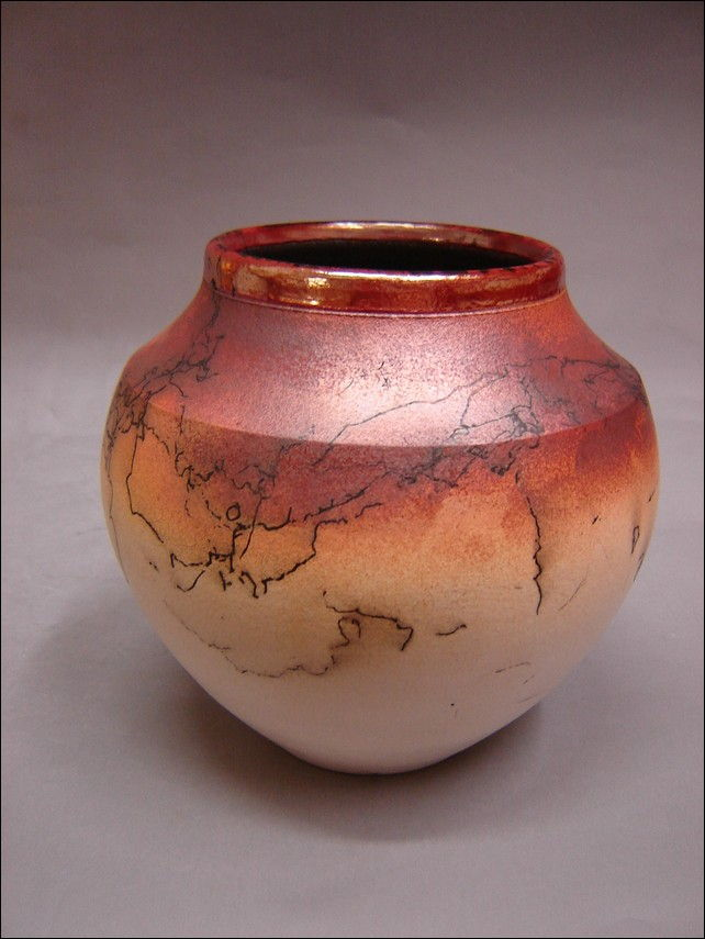 Click to view detail for MP-038 Horse Hair Fired Raku