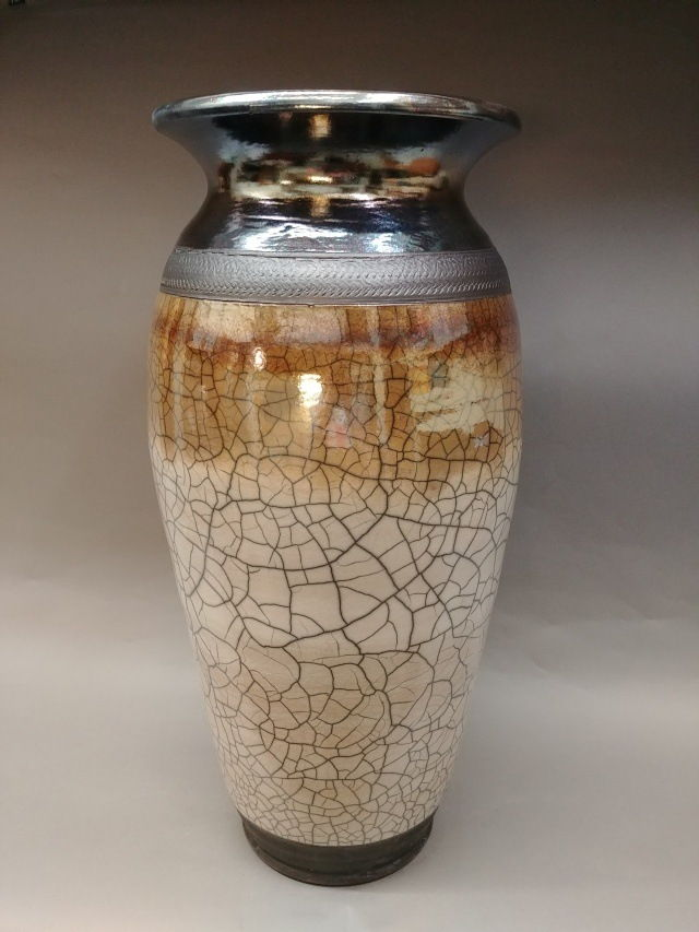 Click to view detail for MP-067 White Crackle/Blue-Wine Wide Neck Raku