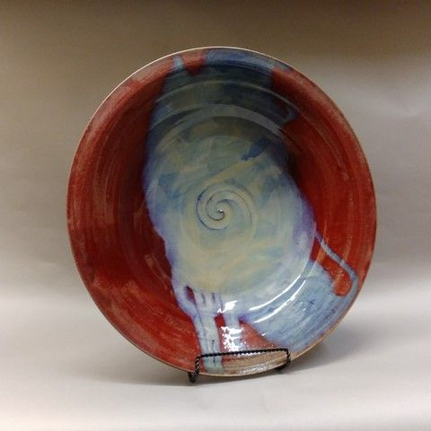 Click to view detail for MW-352 Platter, Stoneware Red & Blue