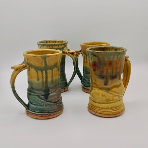 Mugs Set of Four Tan and Moss at Hunter Wolff Gallery