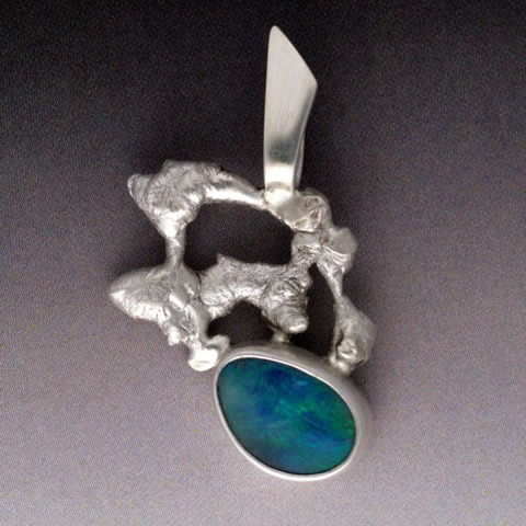 Click to view detail for MB-P328 Pendant Sterling and Boulder Opal