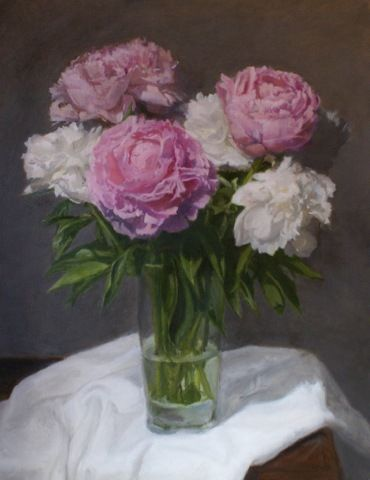 Peonies 20x16 at Hunter Wolff Gallery