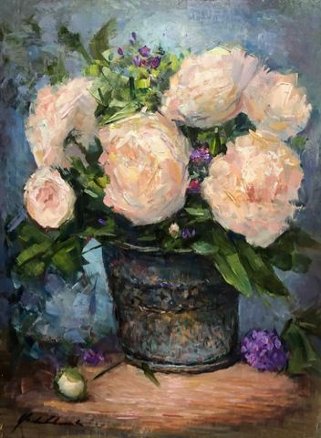 Click to view detail for Peonies in Tin Pot 9x12