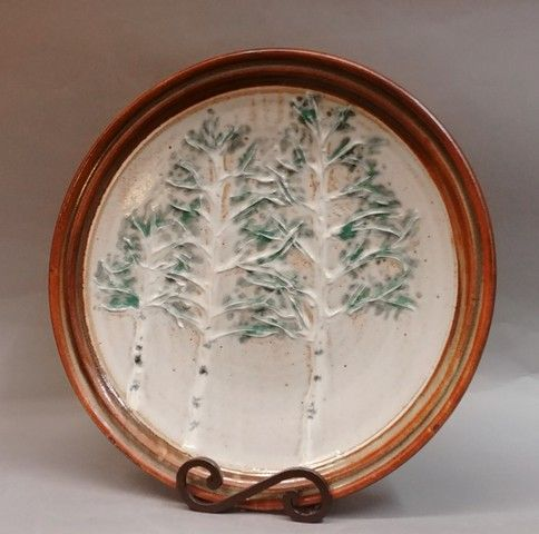 Click to view detail for Platter, Round 15.5 Aspen Tree Motif