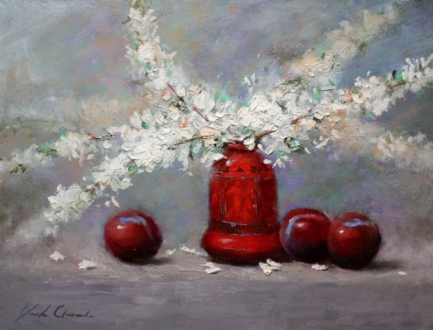 Plums & Blossoms 12x16 at Hunter Wolff Gallery