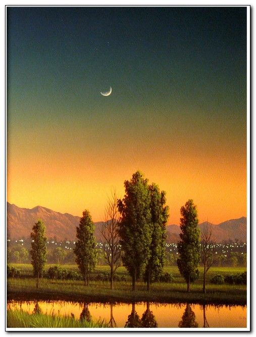 Click to view detail for Poplars in Afterglow