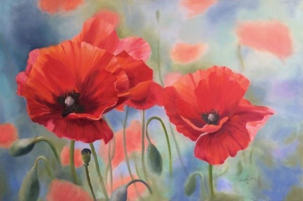 Click to view detail for Poppy Time 24x36 $2300