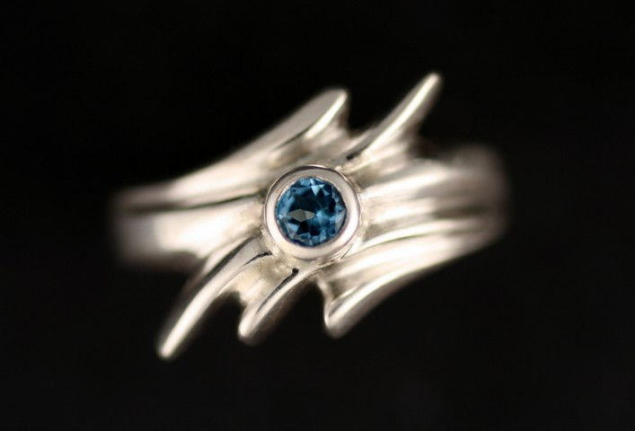 MB-R4H Ring, Sunburst with Topaz at Hunter Wolff Gallery