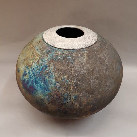 Click to view detail for Raku Vase, Matt Glaze 12x12