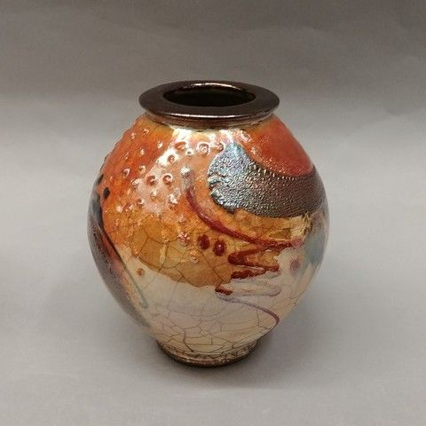 Raku Vase 6.5T at Hunter Wolff Gallery