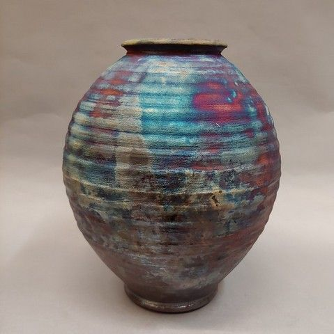 Click to view detail for Vase, Ribbed Raku 9.75 x 8