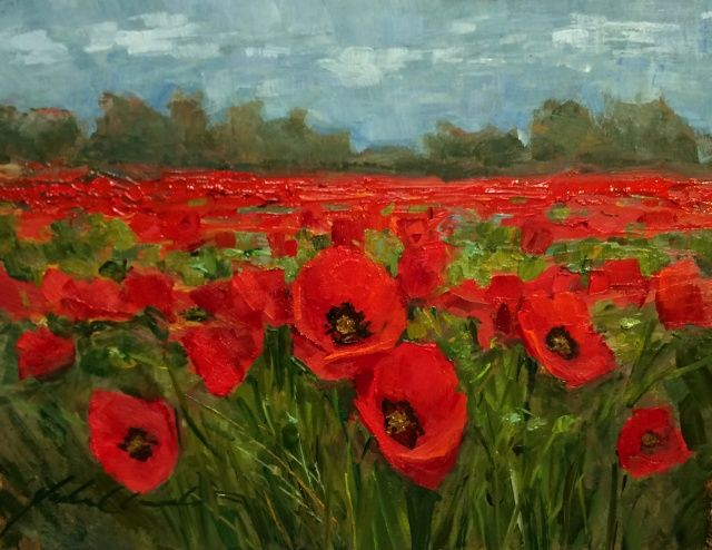 Red Poppy Field 6x8 at Hunter Wolff Gallery