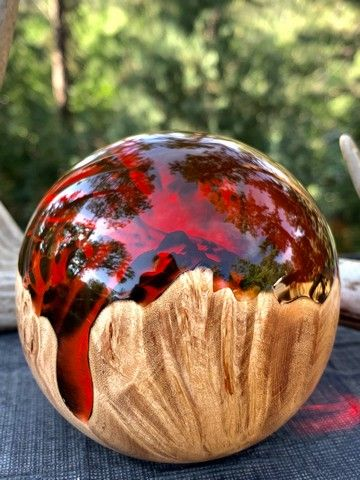 SH048 Maple/Resin Sphere-Red, 3.5 at Hunter Wolff Gallery