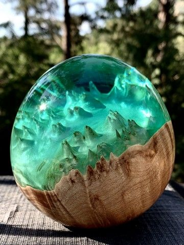 Click to view detail for SH049 Maple/Resin Egg-Blue/Green