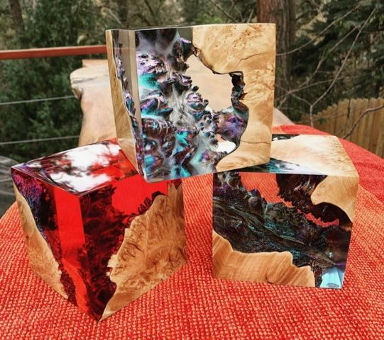 Click to view detail for SH068 Cube Maple Burl & Red Resin