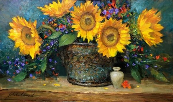 Click to view detail for Sunflowers 14x24