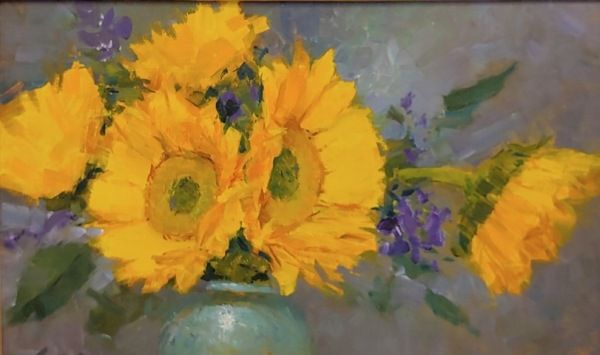 Sunflowers in Blue Vase at Hunter Wolff Gallery