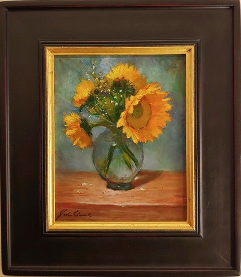 Click to view detail for Sunflowers in Glass Vase 10x8   $400