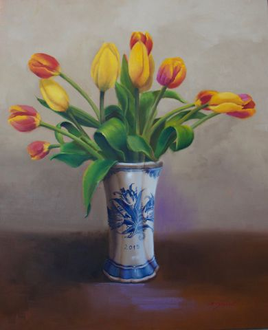 Click to view detail for Tulips in Delft Vase 24x20