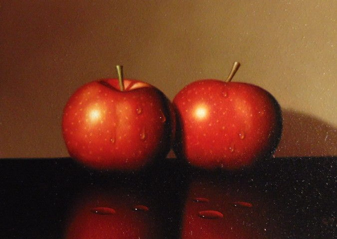 Two Red Apples 5x7 at Hunter Wolff Gallery