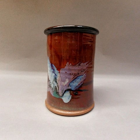 Click to view detail for Utensil Caddy with Red Glaze and Splash of Blues